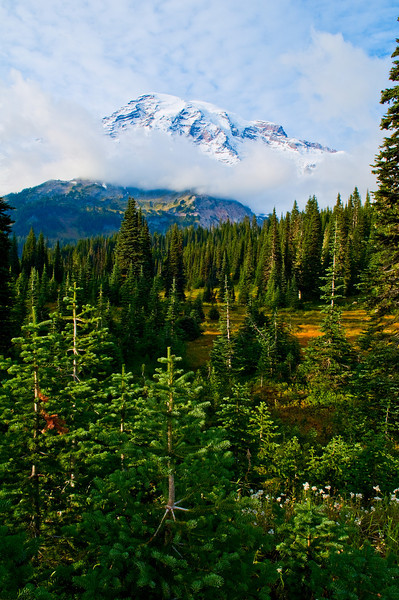 Mount Rainier with clouds