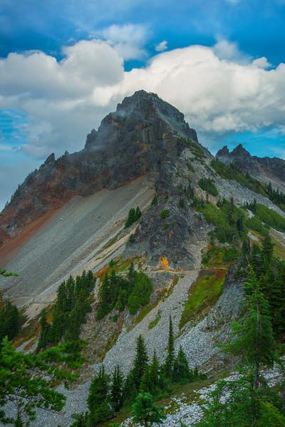 Clouds Surround Peak From Saddle Pinnacle Peak Trail, Plummer Peak, Mt Rainier National Park, WA