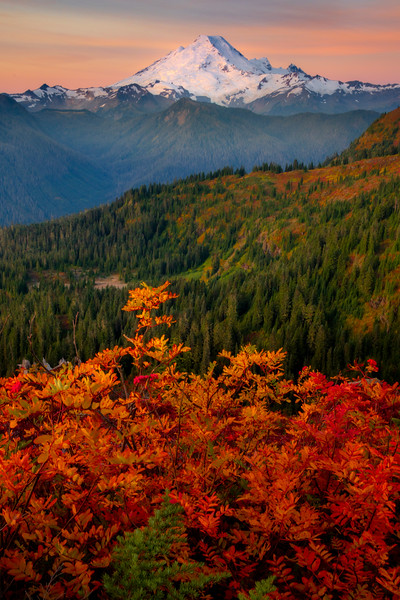 Layers Of Autumn Sunrise Leading To Mt Baker - North Cascades National Park, WA