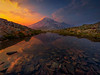Mt Rainer Reflected In Tarn At Sunset Pinnacle Peak Area, Mount Rainier National Park, WA