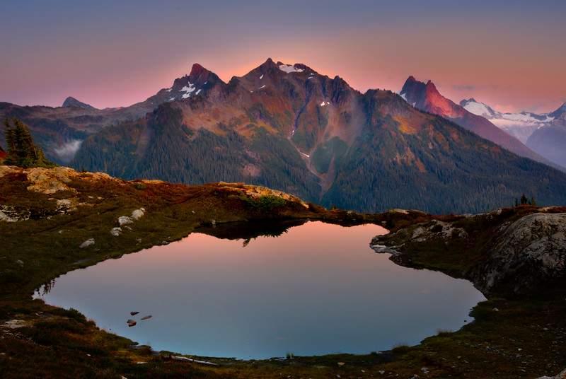 Cascade Range Shines In The Twilight Hour - North Cascades National Park, WA