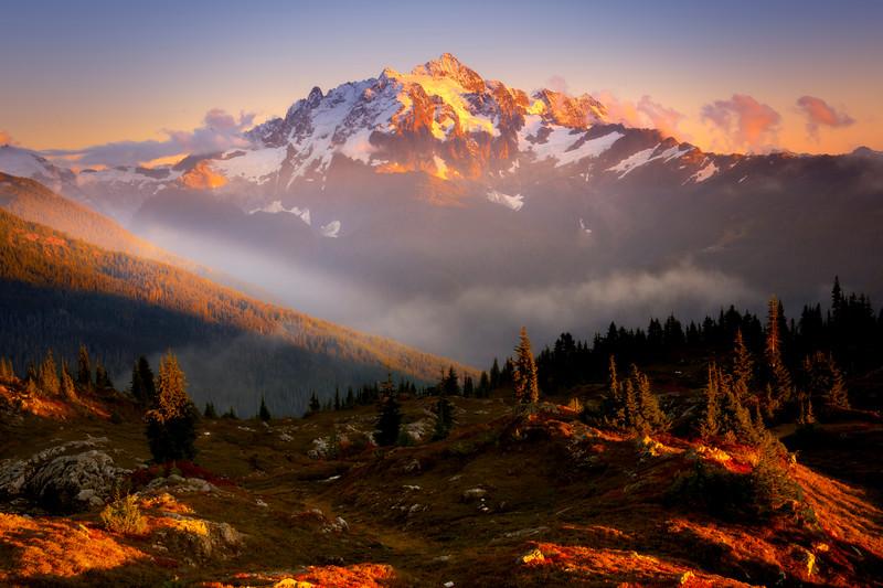 Mt Baker From The Cascades Near Sunset - North Cascades National Park, WA