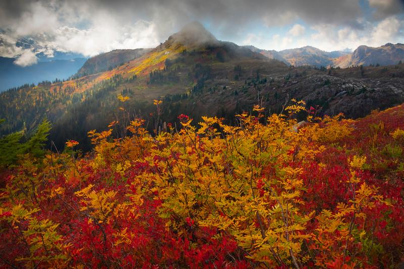 A Break In The Clouds As Peak Sticks Through - North Cascades National Park, WA