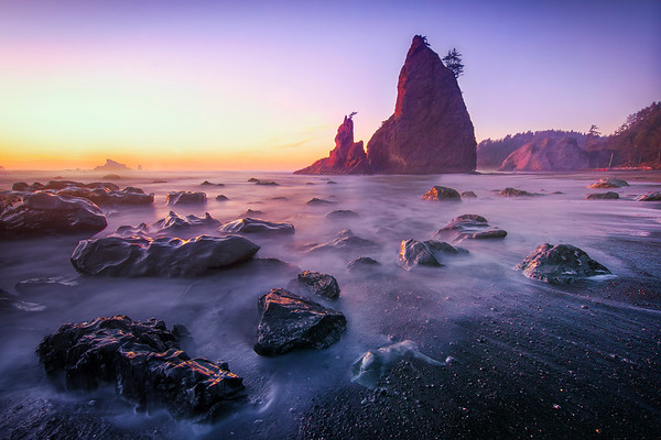 Last Light Reflecting Off The Top Of The Rocks - Rialto Beach, Olympic National Park, WA