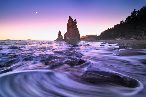 Wave Patterns Crashing On Beach During Twilight - Rialto Beach, Olympic National Park, WA