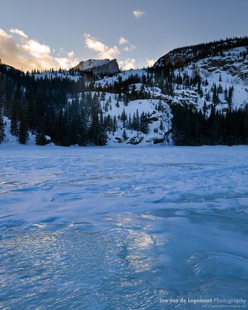 Icy sunset at Bear Lake