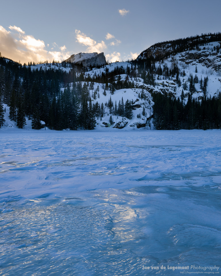 Icy sunset at Bear Lake