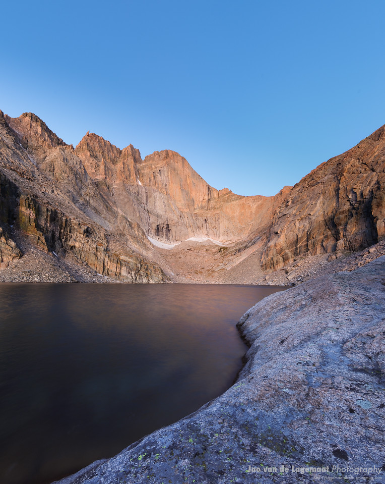 Chasm lake looks like frosted glass due to the 13 second exposure righty before day break