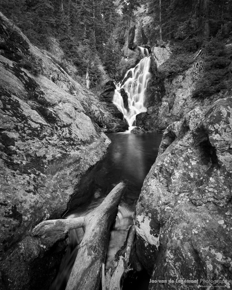 Narrow Canyon, big log in black and white. Read more about these images here