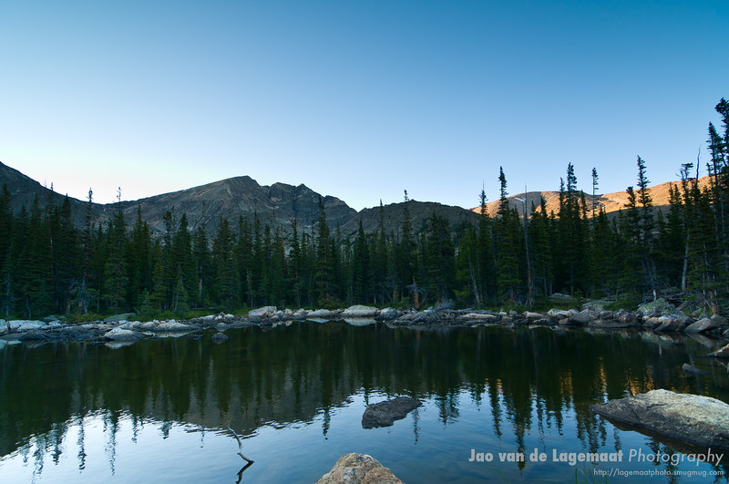 Chipmunk Lake at sunset . Read more about these images here