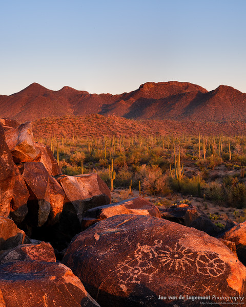 Red sunset Petroglyphs