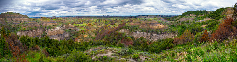 Pano From Badlands Overlook With Spring Greens - Theodore Roosevelt National Park, North Dakota