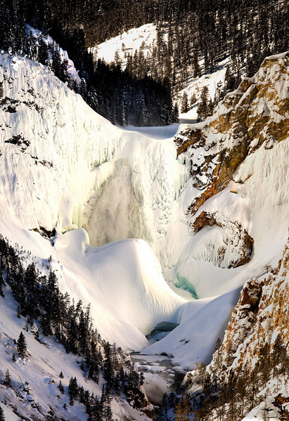 Great  falls composite Panorama Yellowstone in Winter