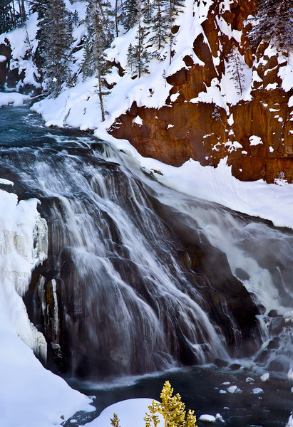 waterfall Yellowstone in Winter