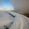 steam geyser Bisen;  Yellowstone in Winter