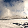 Wendy at west thumb Geyser basin. Panorama Bisen;  Yellowstone in Winter