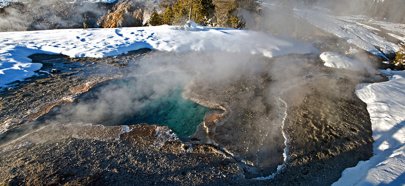 Blue water Yellowstone in Winter