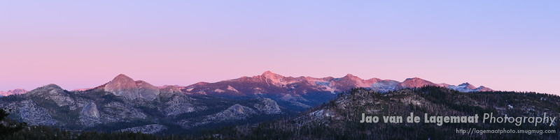 red sunset on Yosemite high country