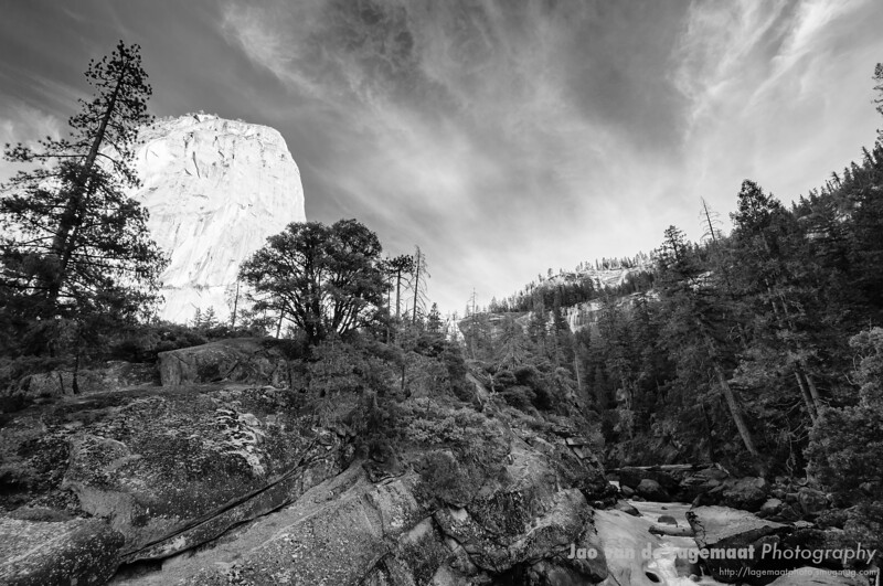 Liberty bell and Merced river Black and White