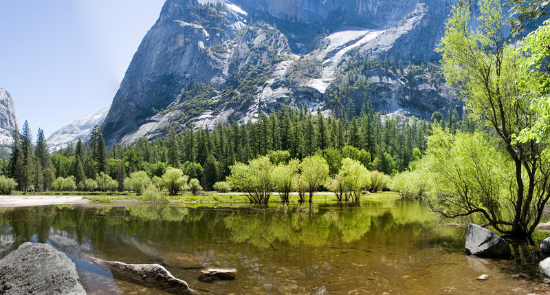 Mirror Lake in May, Yosemite;