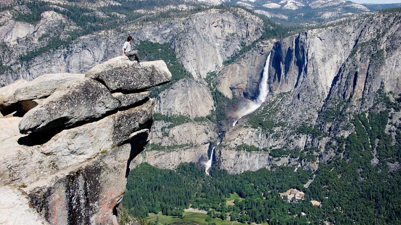 Man overlooking Yosemite Valley Yosemite;