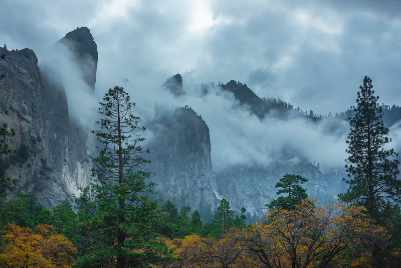 Storm Clouds Over The Cathedral Spires - Lower Yosemite Valley, Yosemite National Park, CA