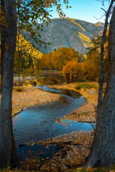 Window Frame Into Autumn Along The Merced - Lower Yosemite Valley, Yosemite National Park, California