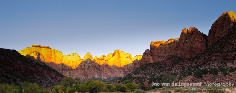 Towers of the Virgin sunrise pano