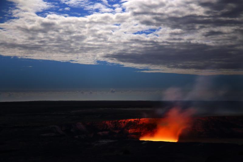 Kiluea Crater Under Moonlight - Hawaii Volcanoes National Park - Hawaii Island