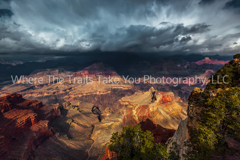 40  Storm Clouds and Sunlight on the South Rim Trail