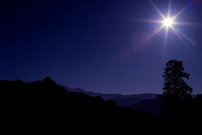 Yosemite at night from Glacial Point