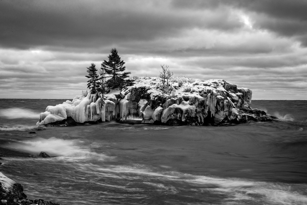 Hollow Rock in Lake Superior B&W