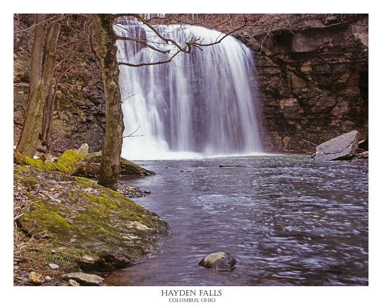Hayden Falls in Columbus, Ohio<br /> <br /> <br /> Relatively little known and somewhat difficult to find, Hayden Falls is a real treat.  This shot was taken during a period of very high water for the creek/falls after a snow melt in early March.  Growing up, the only way to get to the falls was to find your way down a steep dirt foot path.  Recently, the parks service has added a staircase down to the creek, complete with a boardwalk close to the falls.