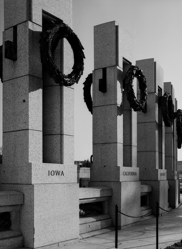 Pillars at WWII Memorial at Sunrise<br /> <br /> B&W Rolleipan 25