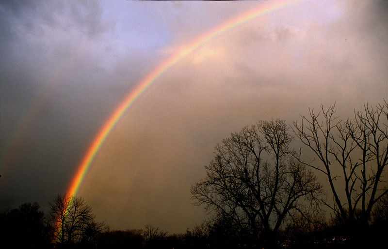 February Rainbow<br /> <br /> The first I have seen in the winter in Ohio.  A heavy band of thunderstorms moved through and left a spectacular view of this rainbow.<br /> <br /> <br /> Nikon F4, Sigma 21-35mm @35mm