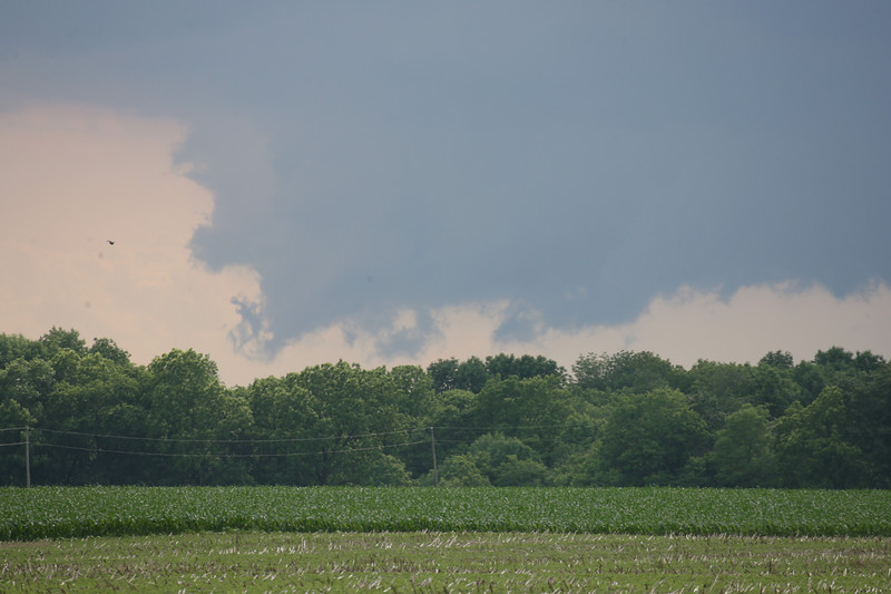 Photo 1 of 2: Clouds developing south of Attica, Indiana on June 5, 2007.  Produced marble size hail, no wind damage.