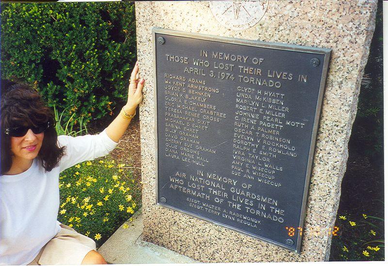 Xenia, Ohio memorial marker for F5 1974 Tornado victims.
