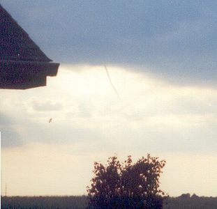 Cold air vortex, White County, Indiana. July 2003.  Look closely to see the small thin vortex.