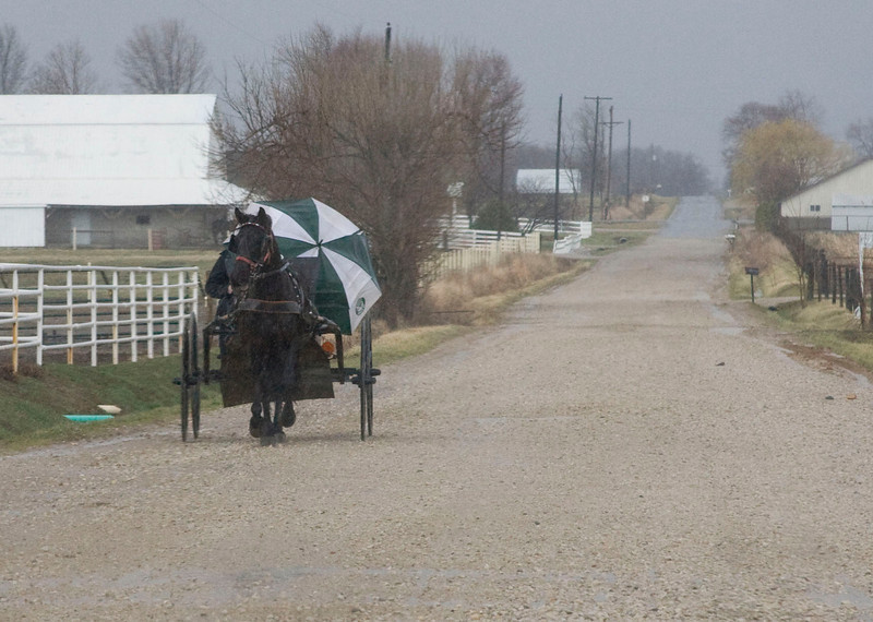 South of Odon, Indiana, March 8, 2009.  Several Amish were on their way to help neighbors who were hit by the tornado.