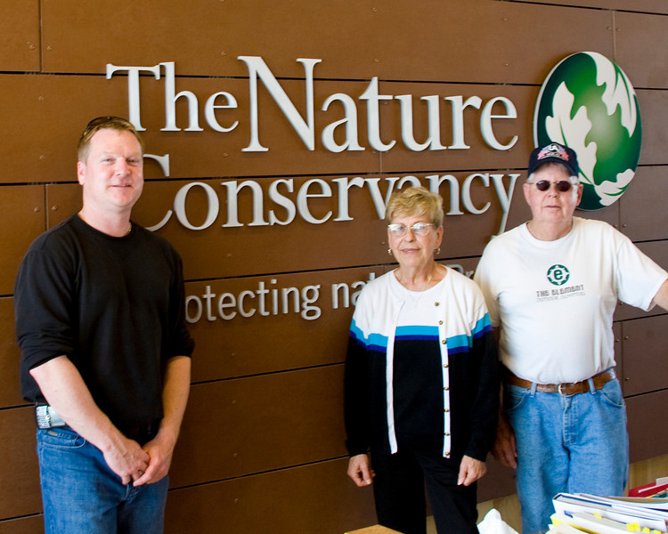 "Marty Jones, Helen Vermillion and Joe Dixon.  The Wabash Valley Audubon Society toured the new Nature Conservancy building at 620 East Ohio Street in downtown Indianapolis on May 22, 2010.  The building is the ""greenest"" building in Indianapolis.  The following photo's explain why."