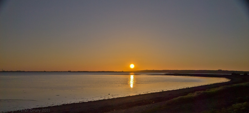 27 April 2011. Dusk at the Oysterbeds. This was taken at the southern car-park. The Oysterbeds are to the centre right.Copyright Peter Drury 2011