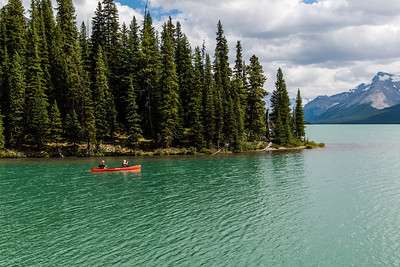 This little corner of Maligne Lake was a much more vibrant green color