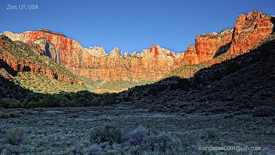 The sun reach Zion behind Zion Natural History Museum