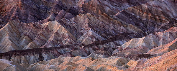 Golden Canyon Badlands panorama in Death Valley National Park.