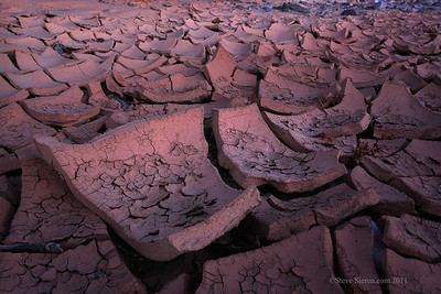 Cracked mud in a wash in Death Valley.