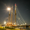 The Tallship Peacemaker sitting in port at the Ludington Waterfront Park's Marina