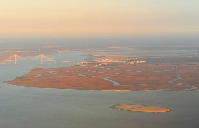 Airborne view of the Sidney Lanier Bridge and Brunswick Harbor area
