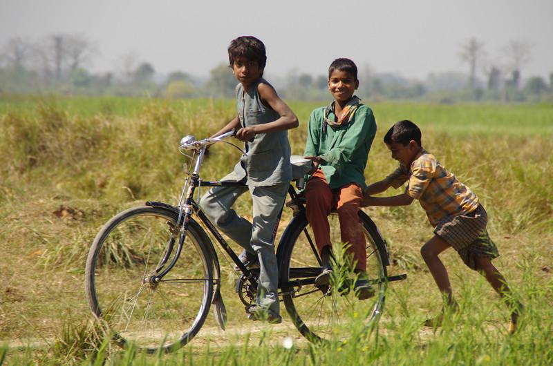 The kids rushing to Lumbini