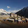 Tengboche monastery, early morning. With an ultra-wideangle lense you have the freedom to take pictures of great panoramic dimensions