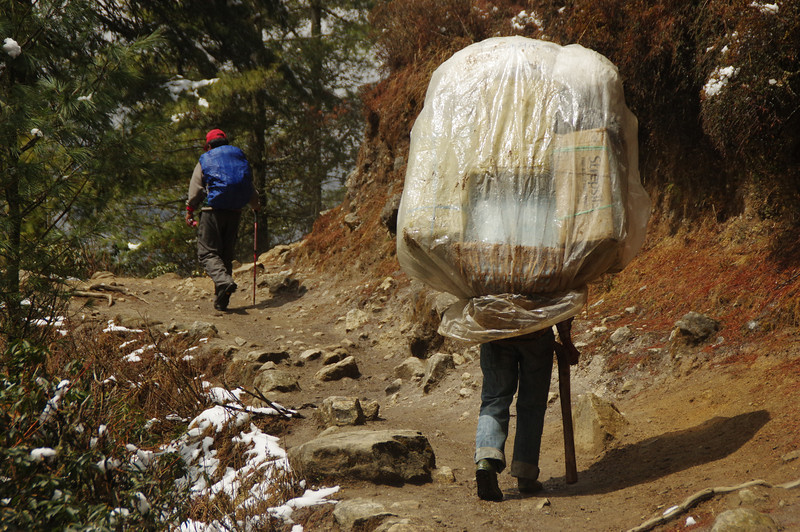 Porters in Solu Khumbu carry up to 140kg's. According to our friend Karma this guy was carrying more than 100 kg's to Namche Bazaar